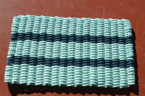 Maine Rope Mat - Large 5 Stripes