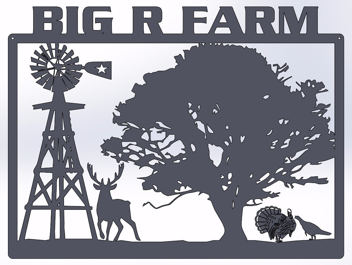 Personalized Farm Rectangle with Windmill, Deer & Turkeys