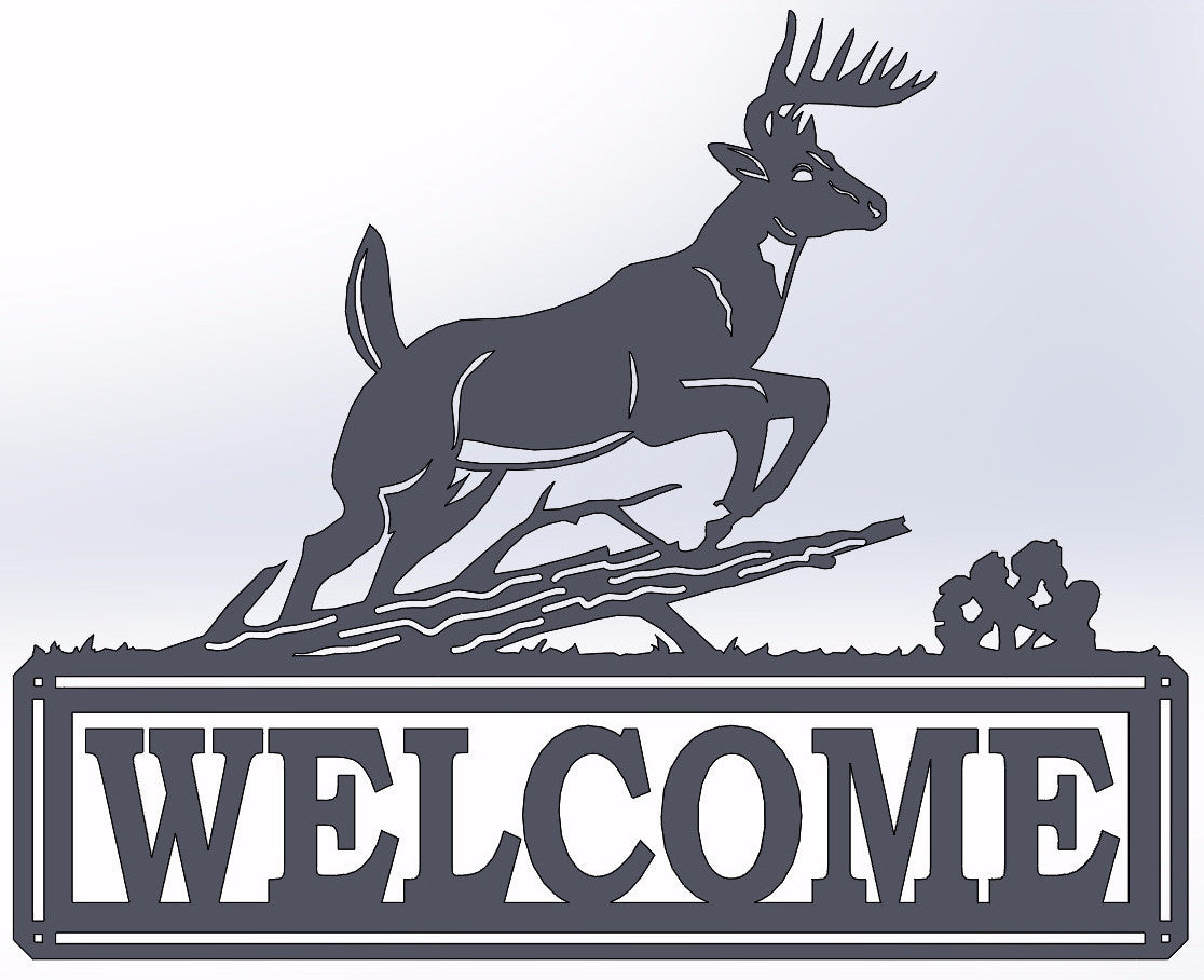 Deer Jumping Welcome Sign
