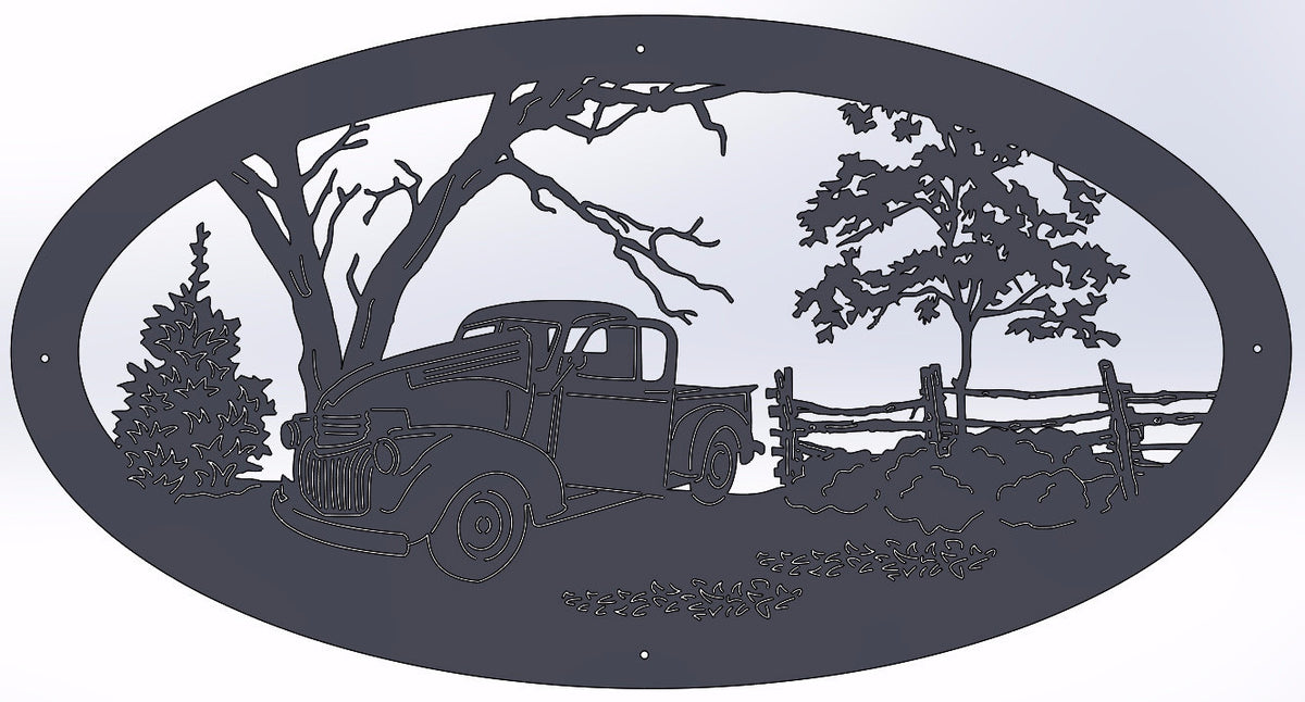 Old Farm Truck Oval
