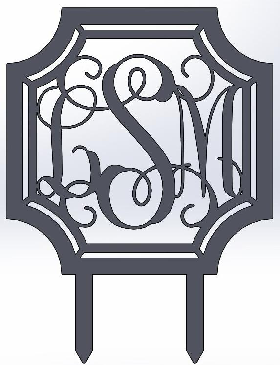 Scalloped Octagon Vine Monogram Yard Stake