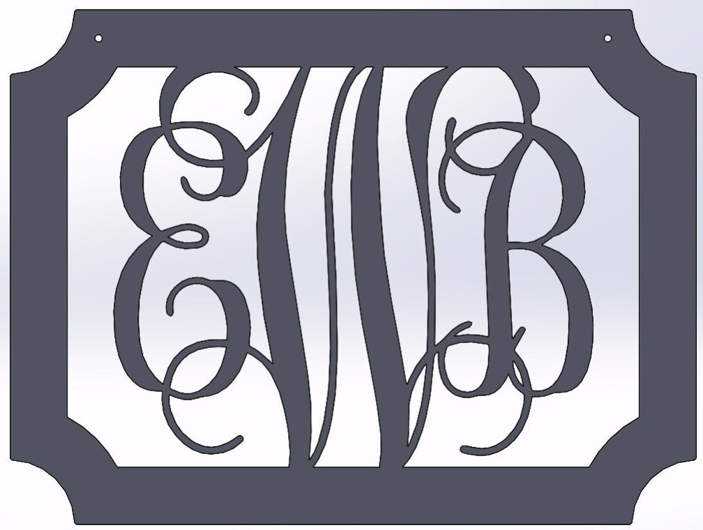 Scalloped Rectangle With Vine Monogram