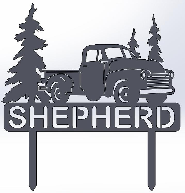 Vintage Truck With Trees & Name Stake