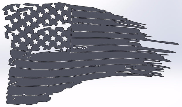 Weathered American Flag 24""