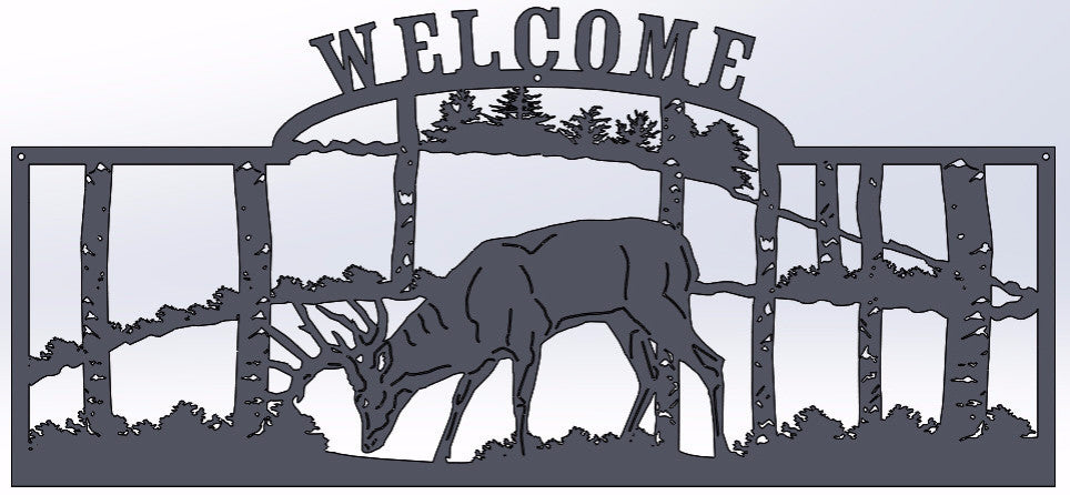Deer In The Woods Welcome Sign