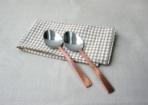 Beaten Copper-Plated 2-Piece Dinner Spoon Set