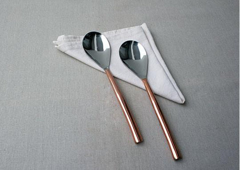 Oval Copper Plated 2 Piece Dinner Spoon Set