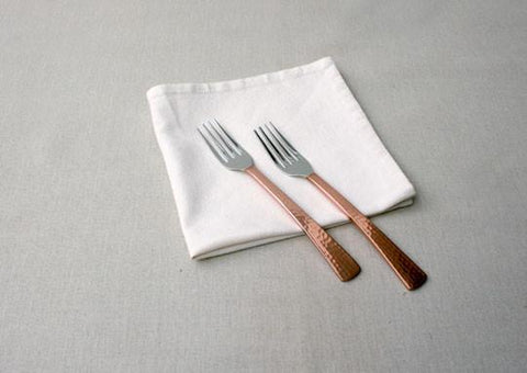 Beaten Copper-Plated 2-Piece Dinner Fork Set