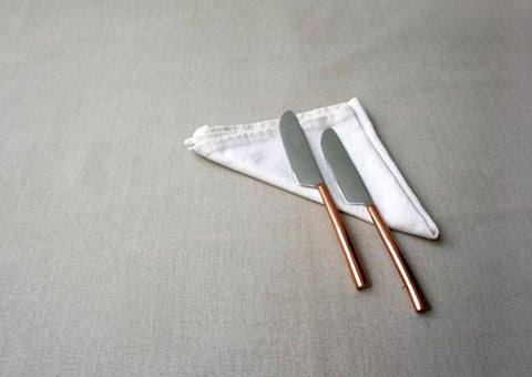 Oval Copper-Plated 2-Piece Dinner Knife Set