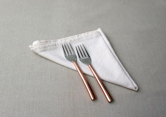 Oval Copper Plated 2 Piece Dessert Fork Set