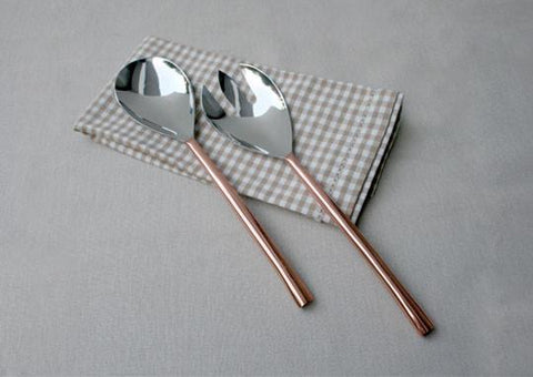 Oval Copper-Plated 2-Piece Salad Server Set
