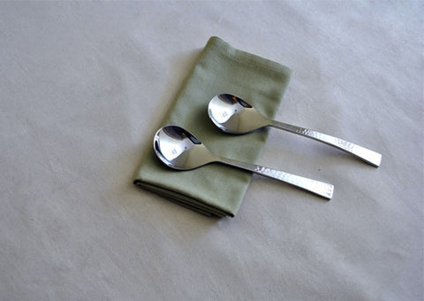 Beaten Steel Serving Spoon