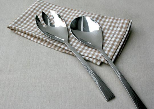 Beaten Steel Salad Servers