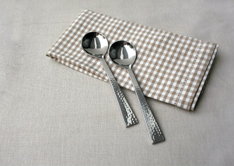 Beaten Steel Soup Spoon (Set of 2)