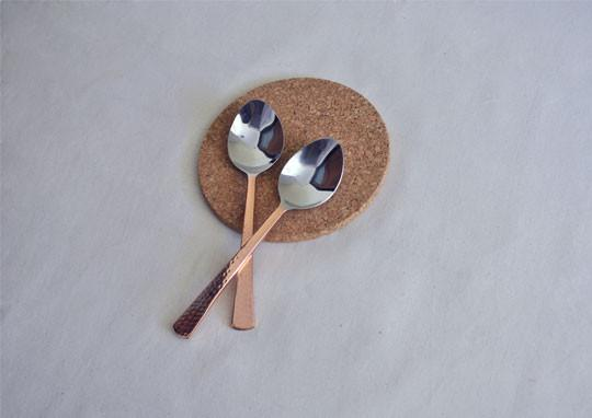 Beaten Copper-Plated Serving Spoon (Set of 2)