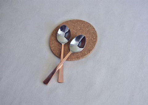 Beaten Copper-Plated 2-Piece Serving Spoon Set