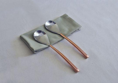 Oval Copper-Plated Serving Spoon (Set of 2)