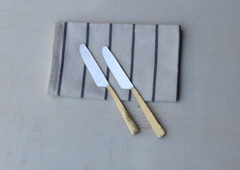 Beaten Brass Plated 2-Piece Knife Set