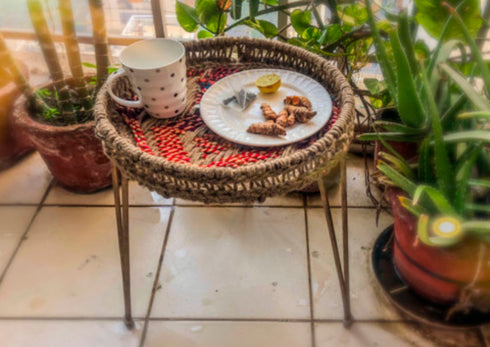 Ida Round Tray Table Jute & Chindi - S