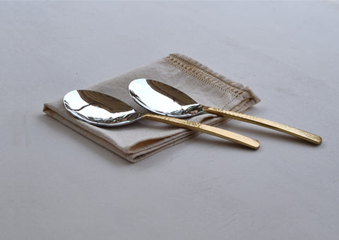 Beaten Brass Plated 2-Piece Rice Server Set