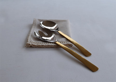 Beaten Brass Plated Salad Server Set