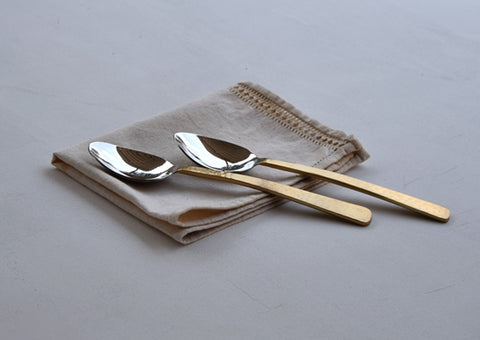 Beaten Brass Plated 2-Piece Serving Spoon Set