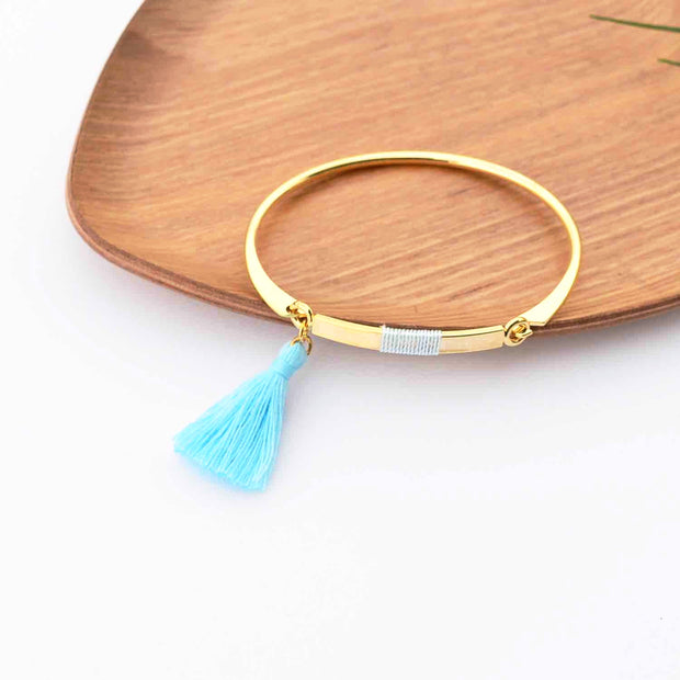 Bangle Pompon Bleu Ciel - Or