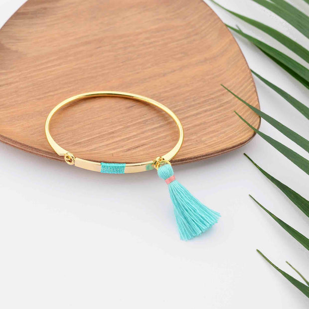 Bangle Pompon Turquoise - Or