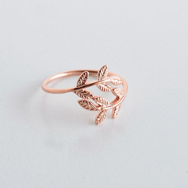 Bague Laurier - Or Rose - Bijoux Majolie