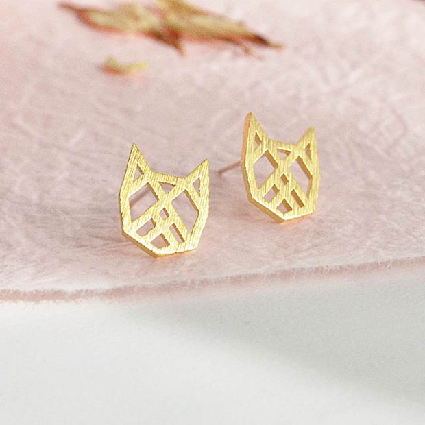 Boucles Chat Origami - Or - Bijoux Majolie