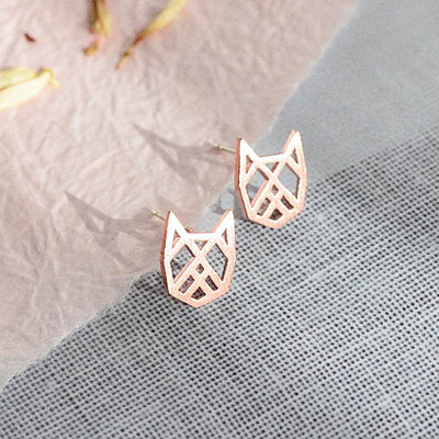 Boucles Chat Origami - Or Rose - Bijoux Majolie
