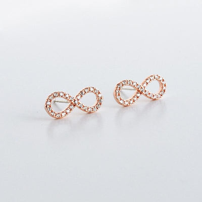 Boucles Infini Diamantée - Or Rose - Bijoux Majolie