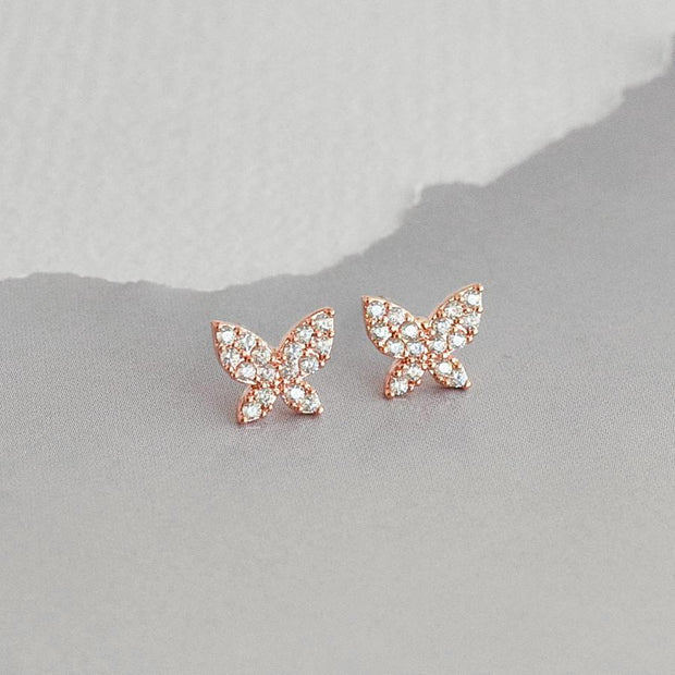 Boucles Papillons Diamantés - Or Rose