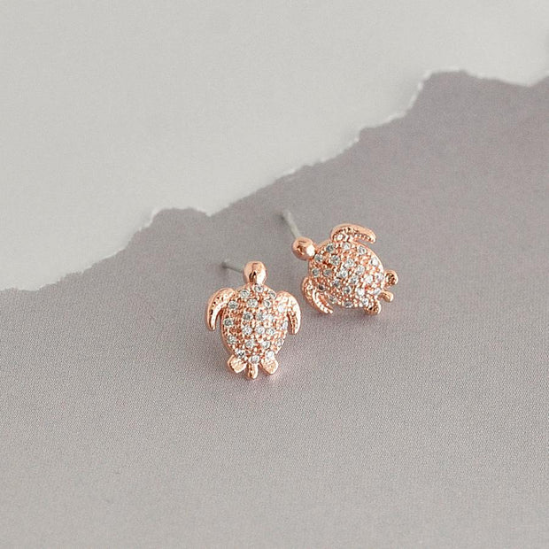 Boucles Tortues Diamantées - Or Rose
