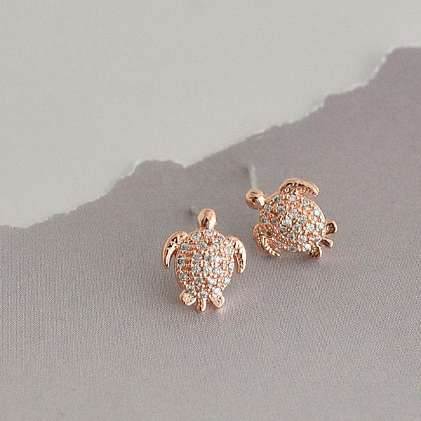 Boucles Tortues Diamantés - Or Rose