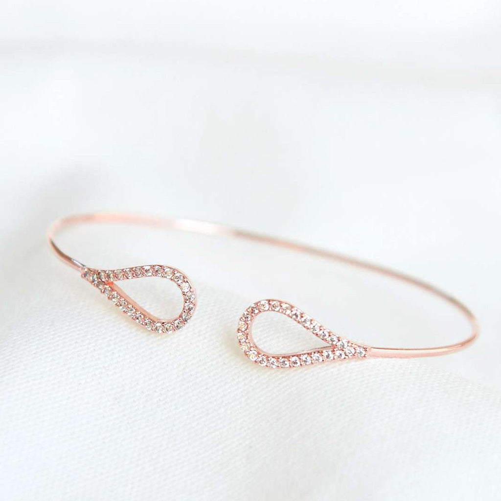 Bracelet Goutte Diamantée - Or Rose