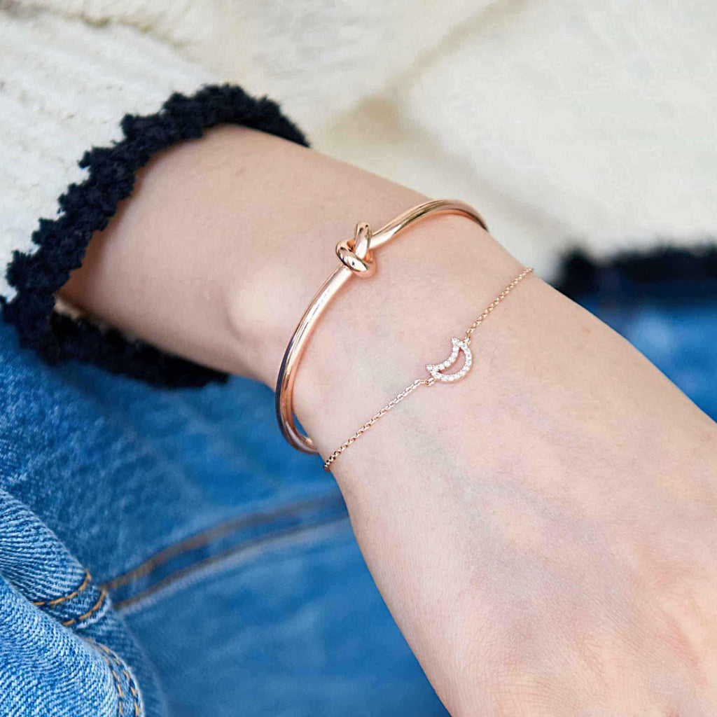 Noeud Rose Gold Jonc Bracelet