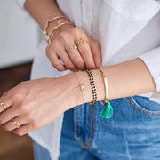 Bangle Pompon Vert - Or - Bijoux Majolie