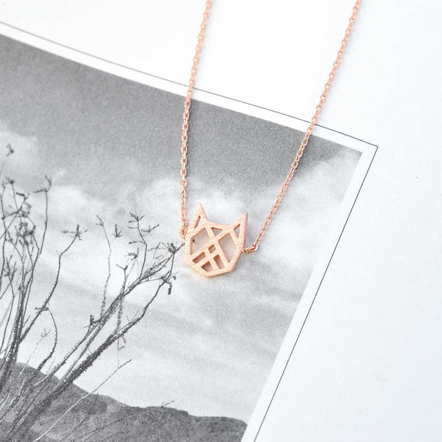 Collier Chat Origami - Or Rose