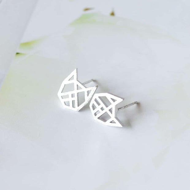 Boucles Chat Origami - Argent