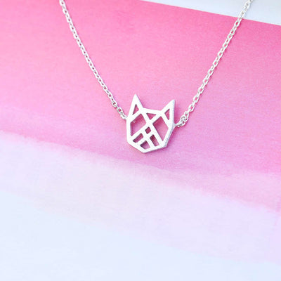 Collier Chat Origami - Argent