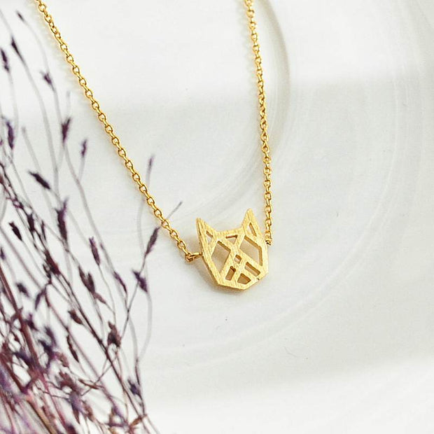 Collier Chat Origami - Or