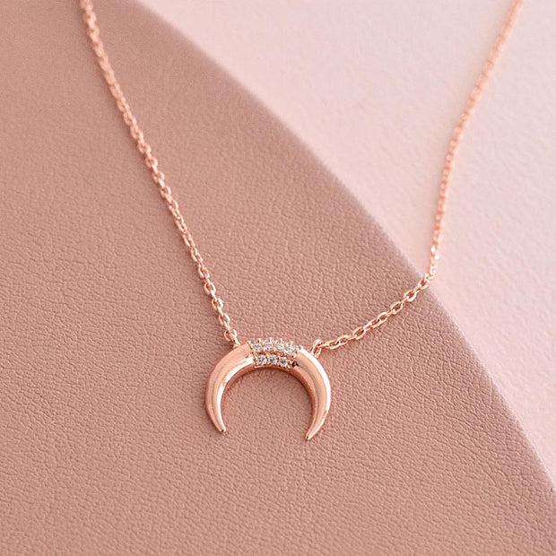 Collier Lune Boho - Or Rose
