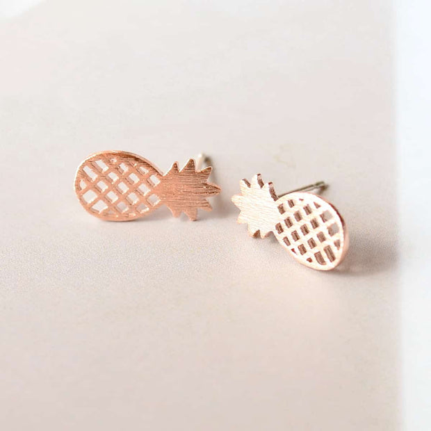 Boucles Pineapple - Or Rose - Bijoux Majolie