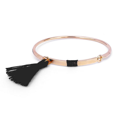 Bangle Pompon Noir - Or Rose - Bijoux Majolie