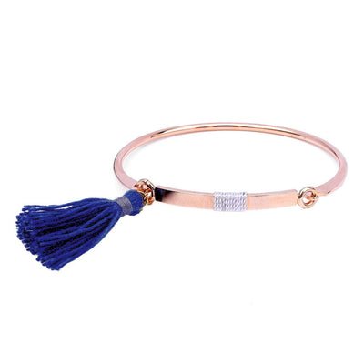 Bangle Pompon Bleu - Or Rose - Bijoux Majolie