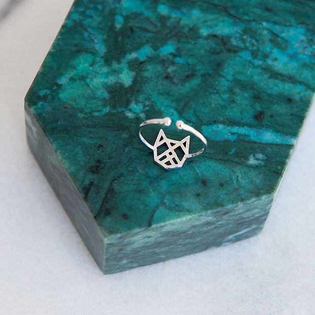 Bague Chat Origami - Argent