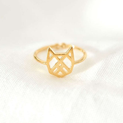 Bague Chat Origami - Or