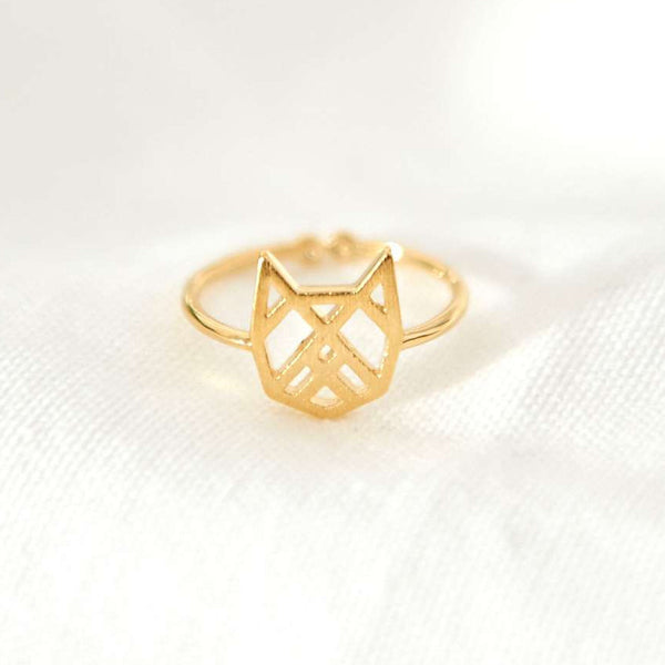 Chat Origami Gold Ring