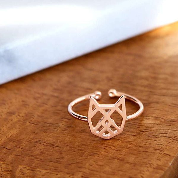 Chat Origami Rose Gold Ring